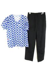 Lot of 2 Scrub Medical Outfit Black Pants Dickies Snowman Top Shirt Size Large