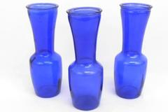 "Lot of 3 Matching Skinny Classic Style Vases Cobalt Blue 9"" Tall"