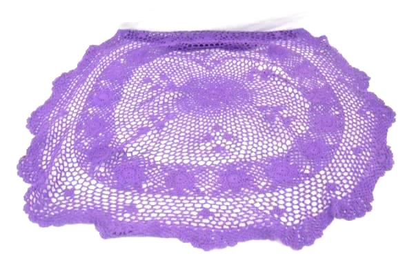 Purple Glass Vase and Round Tablecloth Plus Crochet Doiley Set Home Table Decor