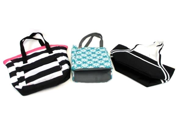 Set of 3 Canvas Lunch Bag Portable Insulated Lunch Thermal Food Picnic Lunch Bag