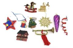 Lot of 10 Christmas Tree Ornaments Hanging Glitter Sparkle Stars Rocking Horse