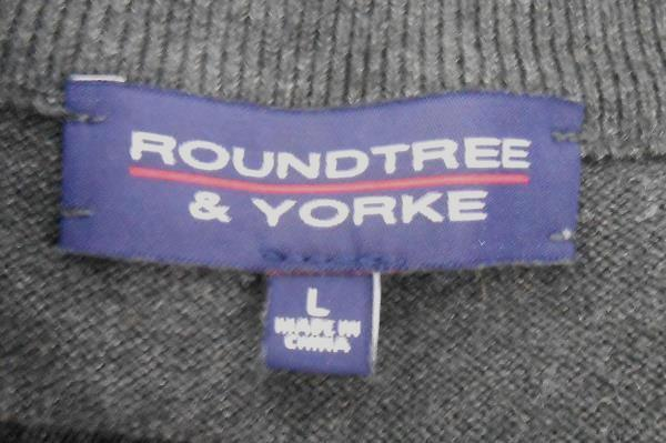 Roundtree & York Charcoal Gray Grey 1/4 Zip Pullover Sweater Men's Size Large