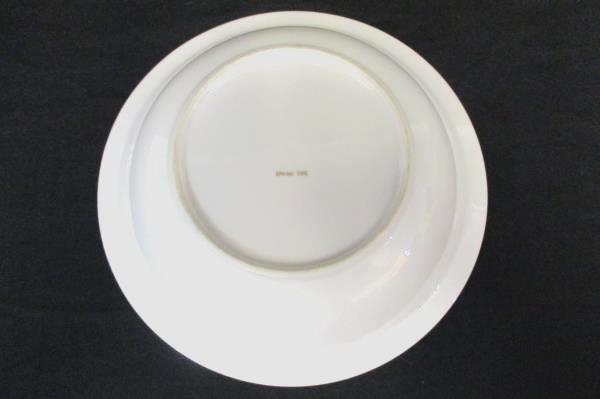 "9"" Round Serving Bowl Spring Time China White with Platinum Gilt Primrose Vine"