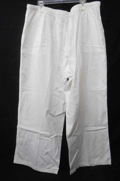 Only Necessities White Elastic Tie Waist 100% Cotton Straight Leg Women's 32W