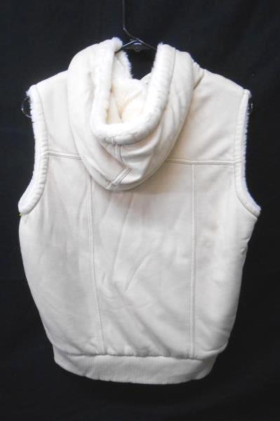 GAP Beige Jersey Knit Soft Faux Fur Lined Hooded VEST Women's Small S