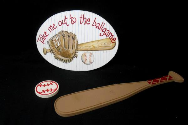 Set of 3 Kids Baseball Wall Hanging Wooden Plaque Bed Room Decor Bat Mitt Ball