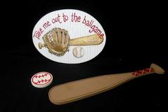 Set of 3 Kids Baseball Wall Hanging Wooden Plaque Bed Room Decor Bat Mitt Ball