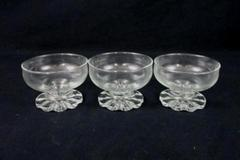 Lot of 3 Vintage Bowls Sundae Sherbet Dessert Clear Glass Pedestal