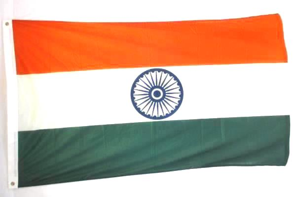 Lot of 3 Huge Full Size Flags of India Orange Green White Circle