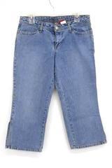 Bongo Jeans Medium Wash Low Rise Denim Capri Calf Slit Detail Womens Juniors 9