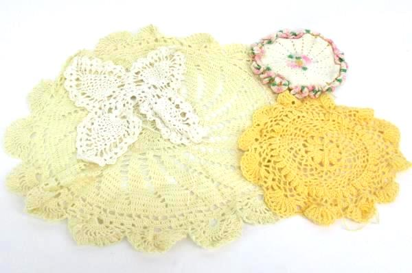 Crochet Lot-Partially Completed Doilies With Matching Thread