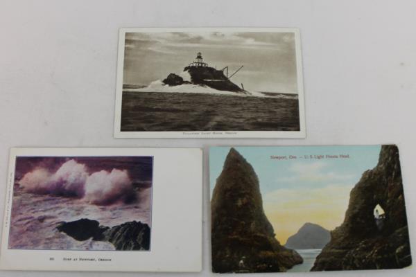 3 Vtg Oregon Coast Postcards Tillamook Light House, Newport Surf, Heceta Head