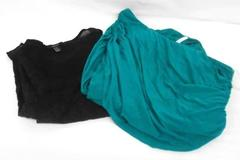 2 Tops Studio Y Teal 1 Shoulder Ruched Black Forever 21 Lace Tank Women's M