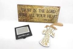 Lot of 3 Wood Metal Wall Hanging Plaque Signs & Frame Christian Prov 3:5 Faith