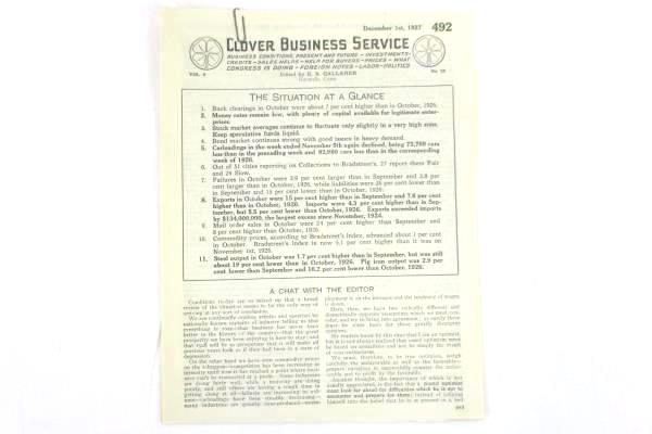 Assorted VTG Business Reports from Clover Business Service December 1927