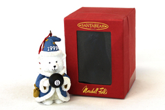 Marshall Fields 1999 Dayton Hudson Resin White Bear with 8 Ball Ornament In Box