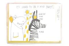 Set of 15 Wild Party Animal Birthday Gathering Invitations Giraffe Zebra Hippo