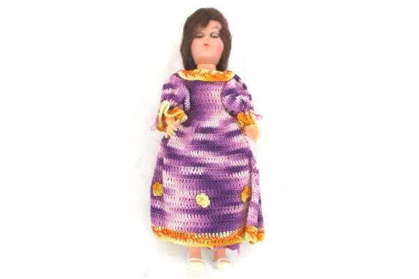 Vintage ATC Doll Purple Handmade Crochet Dress & Bloomers with Hat Sleepy Eyes