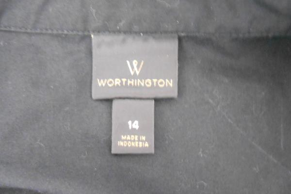Worthington Black Button Down Dress Shirt Geometric Infinity Scarf Women's 14