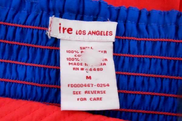 FIRE Los Angeles Strapless Hi-low Dress Elastic Strapless Orange Blue Women's M