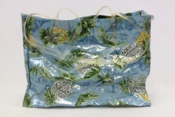 Large Clear Vinyl Pineapple Design Fabric Beach Tote Easy Fasten Closure
