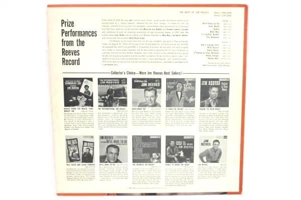 """Jim Reeves LP 33 RPM """"The Best Of Jim Reeves"""" RCA Victor 1964 Record"""
