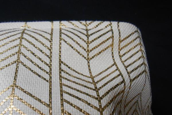 "Gold Chevron Pattern Canvas Wall Art 24"" x 12"" w/ Matching Canvas Basket"