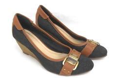 Giuliana Wedge Heels Buckle Detail Jean Denim Brown Details Women's 8