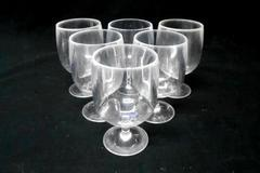 Set of 6 Hard Plastic Clear Wine Glasses Goblets Summer Outdoor Party
