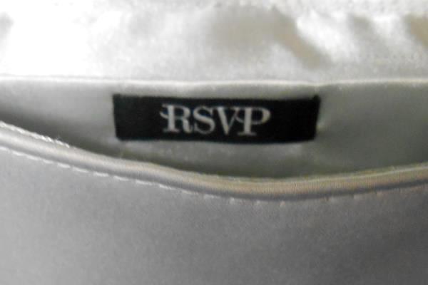 RSVP Gray Satin Silver Tone Chain Wedding Evening Dress Purse Bag Clutch