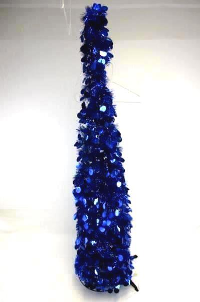 """Pair of Two (2) 60"""" Gold and Blue Decorative Christmas Trees"""
