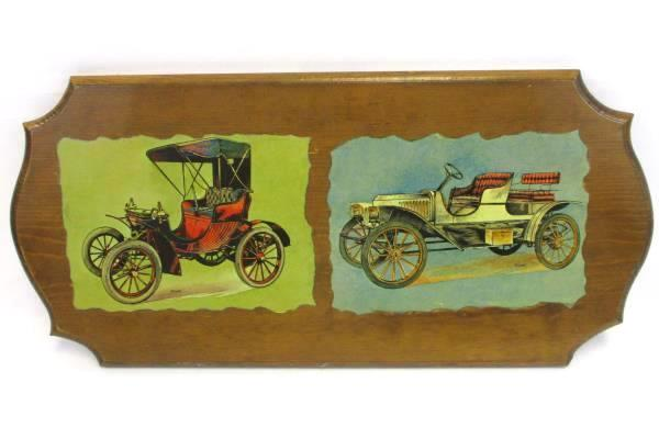 Set of 2 Wood Vintage Antique Car Plaque Wall Display Decoupage