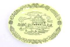 Bucks County Barn Raising Scene Vintage Platter Penn. Dutch Amish Royal 1950s