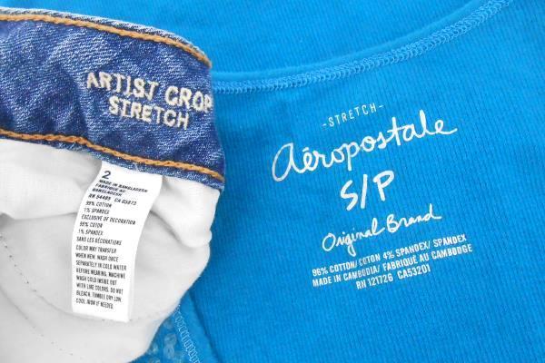 Women's Casual Outfit AEO Artist Crop Denim Pant Sz 2 Aero Teal Sequin Tank Sz S