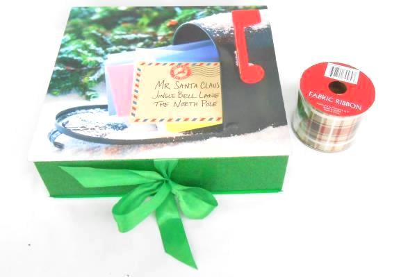 Mixed Lot of Christmas Holiday Decorations Box Garlands Deer Ribbon Santa Snow