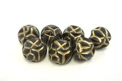 Lot of 7 Fashion Vintage Buttons Black and Gold Tone Matching Plastic Acrylic