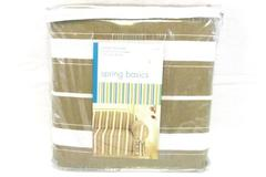 NIP Spring Basics Beige White Striped Love Seat Slip Cover Fits 60-72 Inch NEW