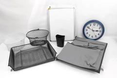 Lot of Office Supplies Organizer Pen Holder Desk Lamp Clock Dry Erase