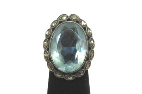 1918-30s Uncas Signed Sterling Marcasite Light Sapphire Glass Stone Ring Size 2