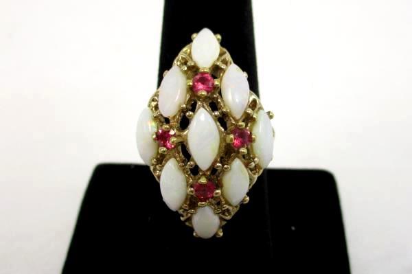 Uncas Signed Diamond Shape Cluster Ring 18K HGE Exquisite Faux Opal Pink Stone 8