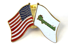 Fitzgeralds Casino Reno Nevada USA Flag Gold Tone Enamel Metal Lapel Pin Pinback