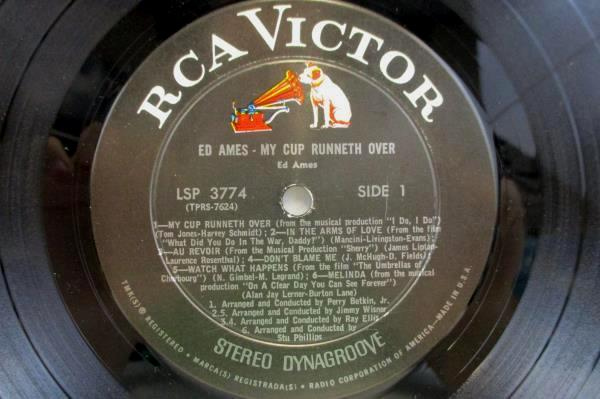 Ed Ames My Cup Runneth Over Record LP Album RCA LSP-3774 Ed Ames Catalog 1967