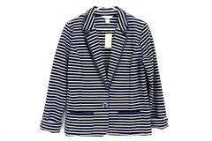 Christopher & Banks Women's Striped Blazer Jacket Size Large ASRP 54.95