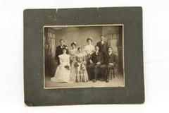 "Antique Victorian Photograph Bride & Groom Wedding Party Cardboard Back 9"" x 7"""