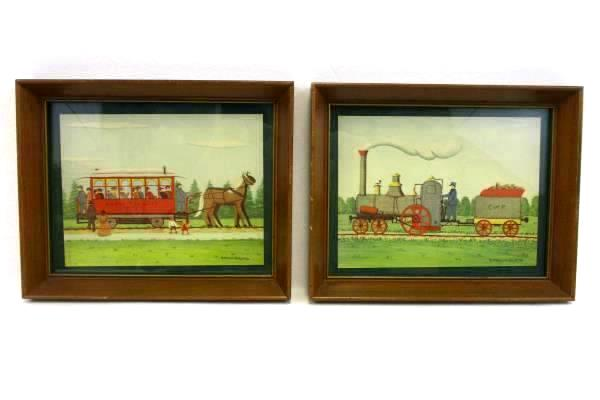 Vintage E Melvin Bolstad Folk Art Framed Prints Set Of Two Rapid Transit C & P