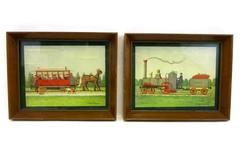 Vintage E Melvin Bolstad Folk Art Framed Prints Set Of Two Rapid Transit C & P