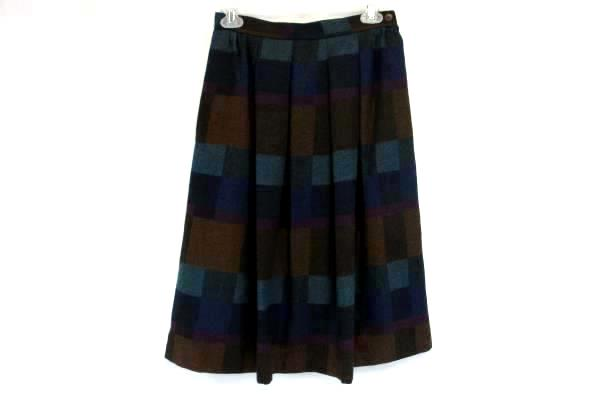 Victoire Petites Wool Blend High Waisted Patchwork Pleated Skirt Modest Women 10