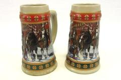 Lot 2 1993 Budweiser Holiday Stein Clydesdales Hometown Holiday Anheuser Busch