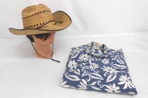 Lot of 2 Men Clothing Accessory Campia Moda Shirt Blue Button Up Straw Hat Small