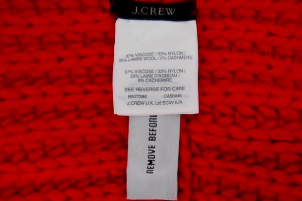 J Crew Bright Red Cable Knit Infinity Scarf & Knit Beanie Cap Hat Winter